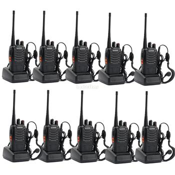 10PCS Original Baofeng BF-888S Walkie Talkie UHF 400-470MHz 16CH Two-way radio Amateur Intercom FM Transceviers 888s + Earpiece