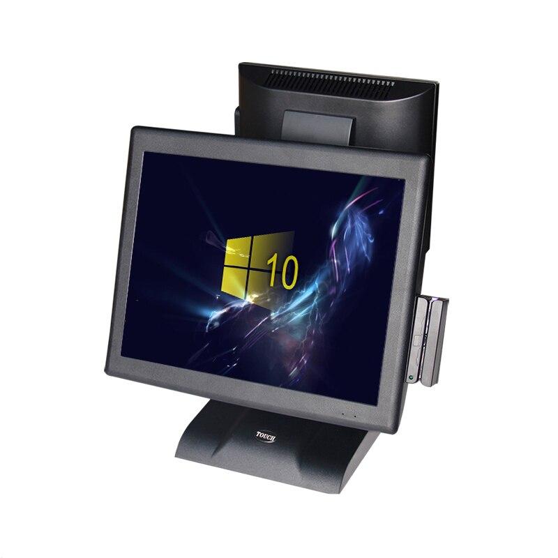 نظام نقاط البيع المزدوج الأكثر مبيعًا بشاشة 15 + 12 بوصة مقاومة تعمل باللمس بنظام نقاط البيع 12 بوصة الكل في واحد ويندوز