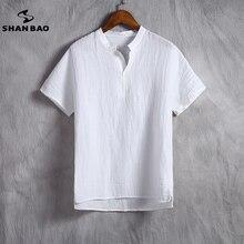 SHAN BAO marque hommes lin blanc t-shirt été section mince confortable respirant haute qualité ample à manches courtes t-shirt