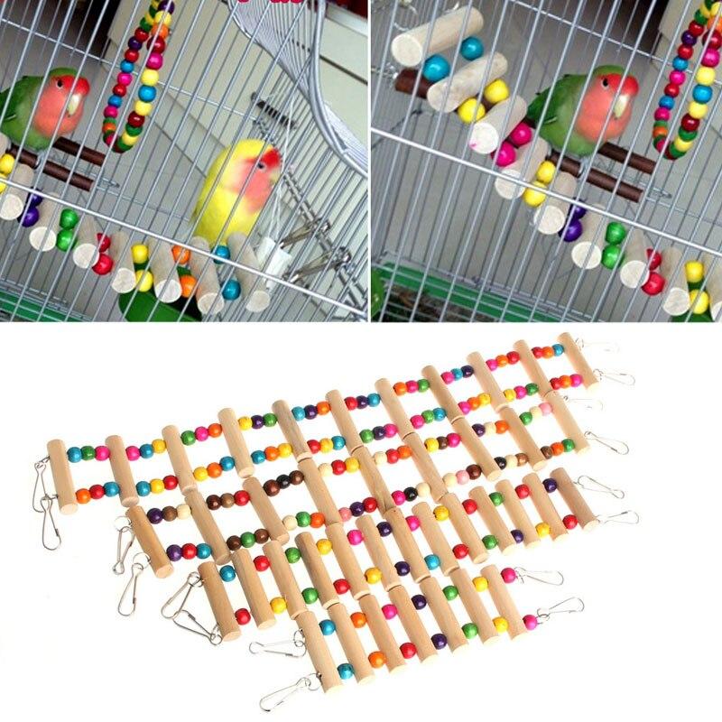 Pájaro columpio, puente de madera, escalera para escalar, cacatúa, periquito, loro, mascota, juguete