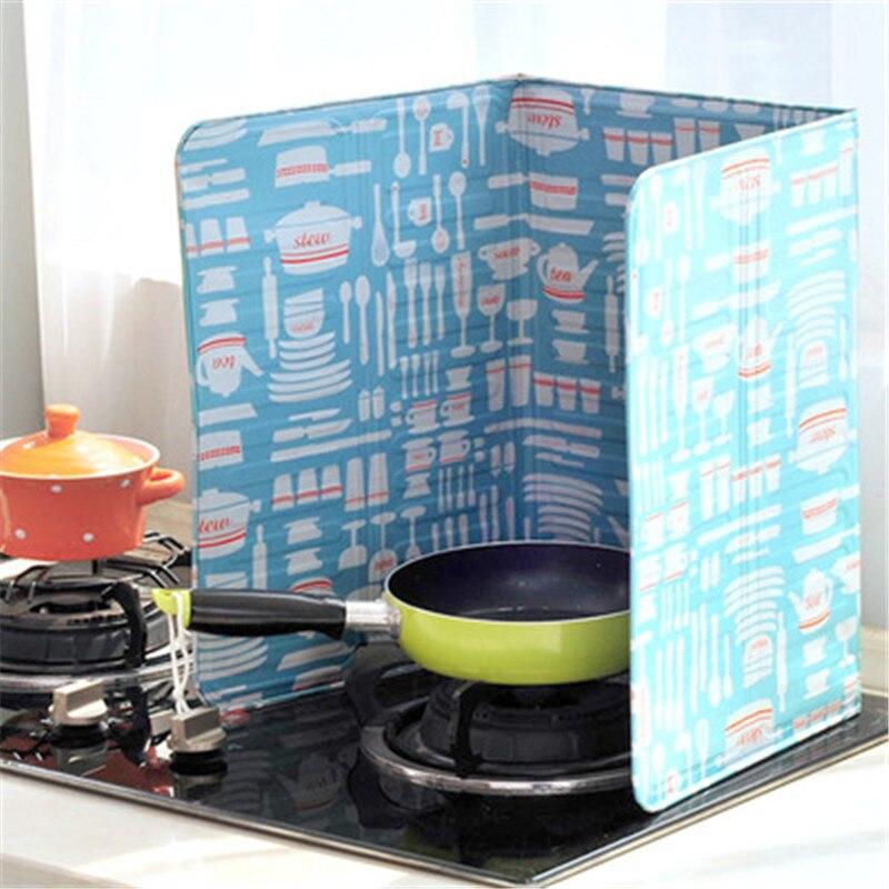 Colorida cocina, estufa de Gas, deflector de papel de aluminio de aislamiento de cocina grasa caliente Splash bloque de aceite de aluminio, fácil de limpiar