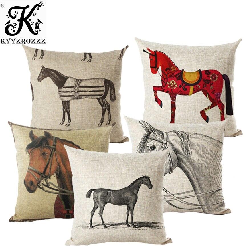 45x45cm de dibujos animados caballo colorido cojín de algodón cubierta de lino almohada Thow cubierta funda de cojín para sofá dormitorio almohadas decorativas