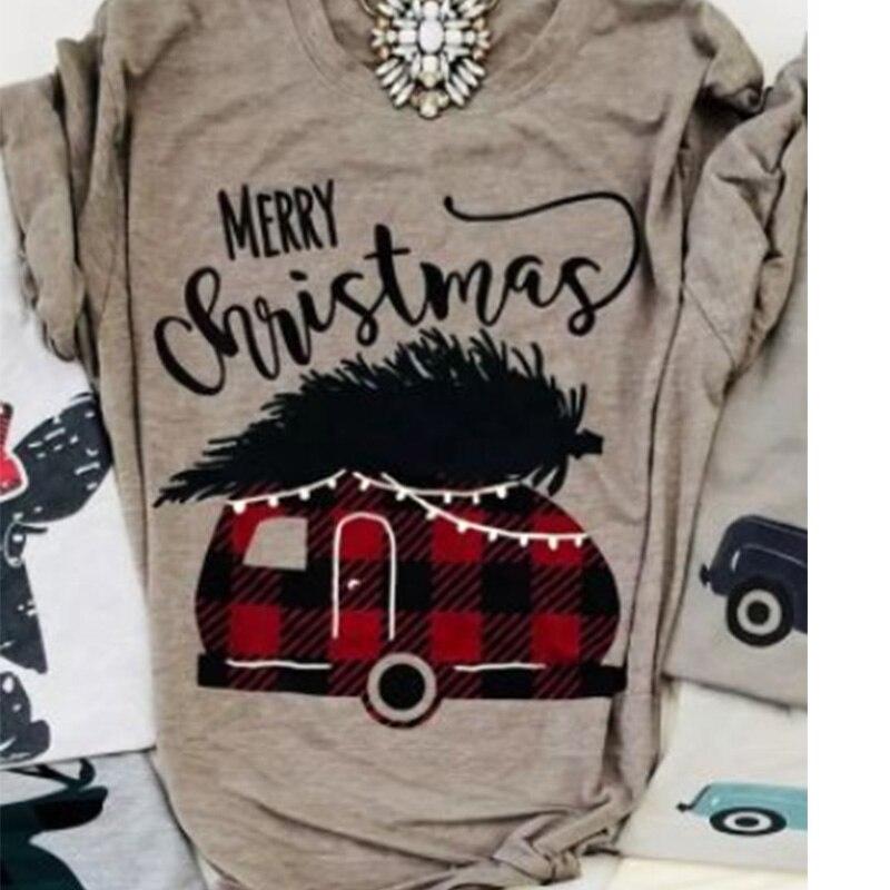 Клетчатая футболка с изображением машины, женская футболка, рождественские топы, модные женские футболки, Корейская одежда, графический Рисунок, Рождество
