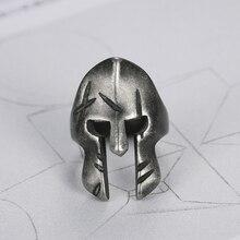 Nouveauté Viking spartiate anneau en acier inoxydable 316L antique Bronze plaqué couleur masque bijoux exquis hommes spartiate casque anneau