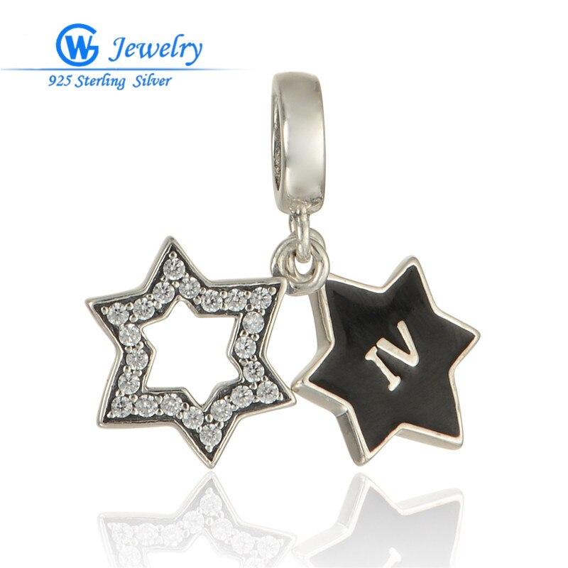 Plata de Ley 925 auténtica pulsera de dos Estrellas Negras, collar de...