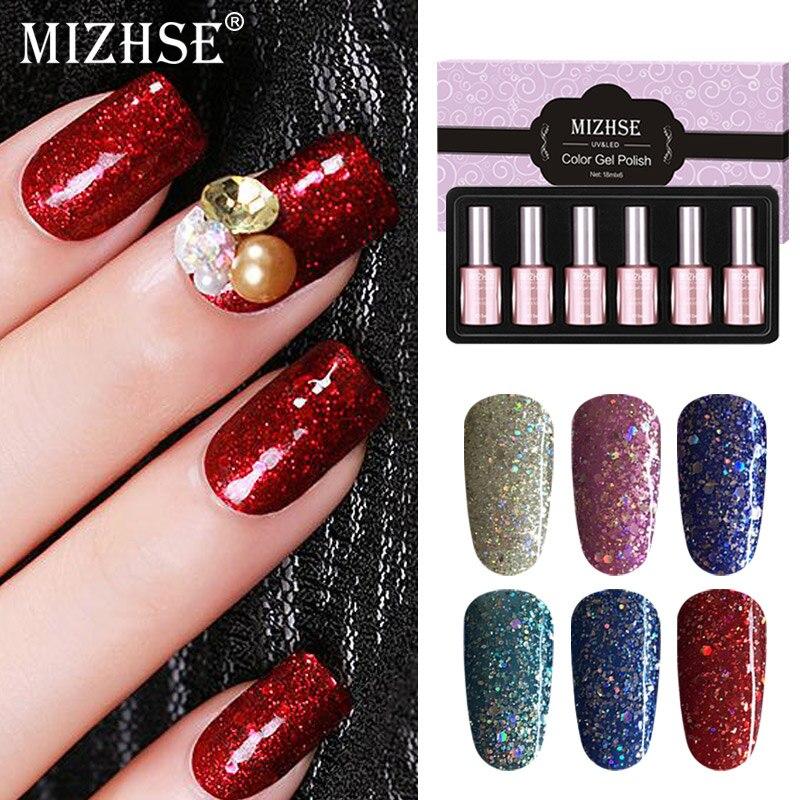 MIZHSE, esmalte de uñas profesional de regalo, uña de diamante brillante, lámpara de Led UV, laca de Gel en remojo, capa adhesiva de larga duración