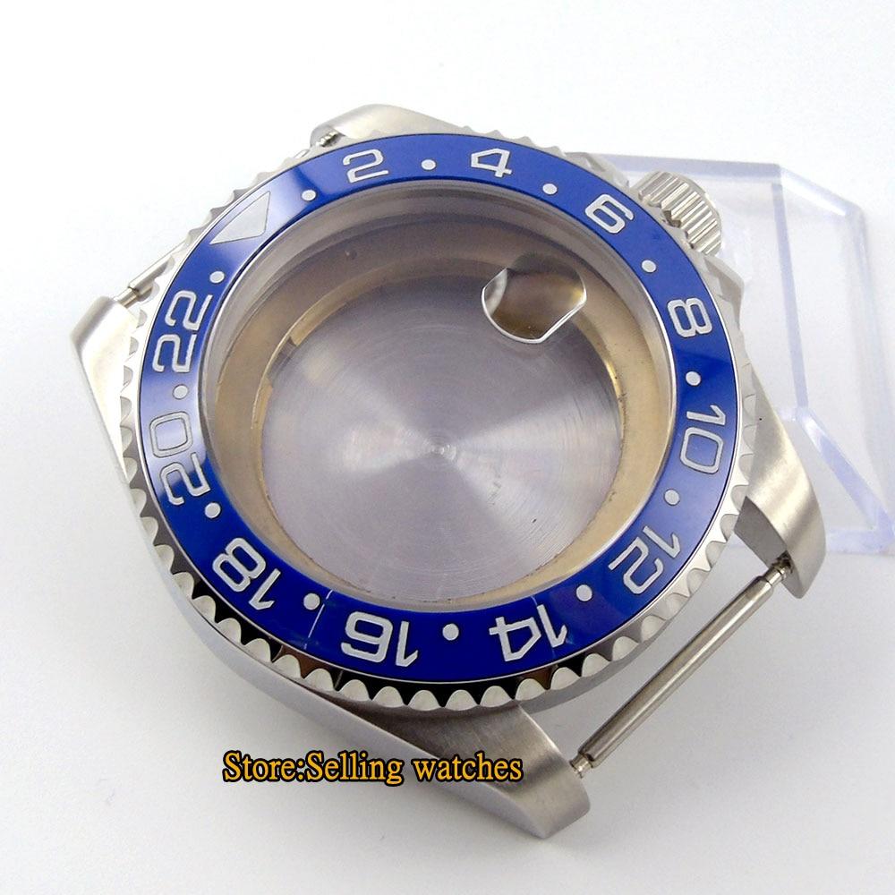 Caja de reloj de acero inoxidable con cristal de zafiro de 43mm compatible con ETA 2836 mingzhu 2813 miyota 82 series MOVEMENT