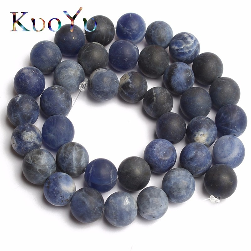 Natural mate polaco mate azul sodalita cuentas redondas de piedras para fabricación de joyas cuentas/4/6/8/10mm Diy pulsera collar