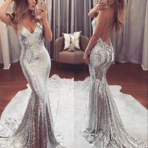 Сексуальные Серебристые платья FATAPAESE для выпускного вечера с глубоким V-образным вырезом и юбкой-годе 2019, вечерние платья с блестками, вечернее платье, платье
