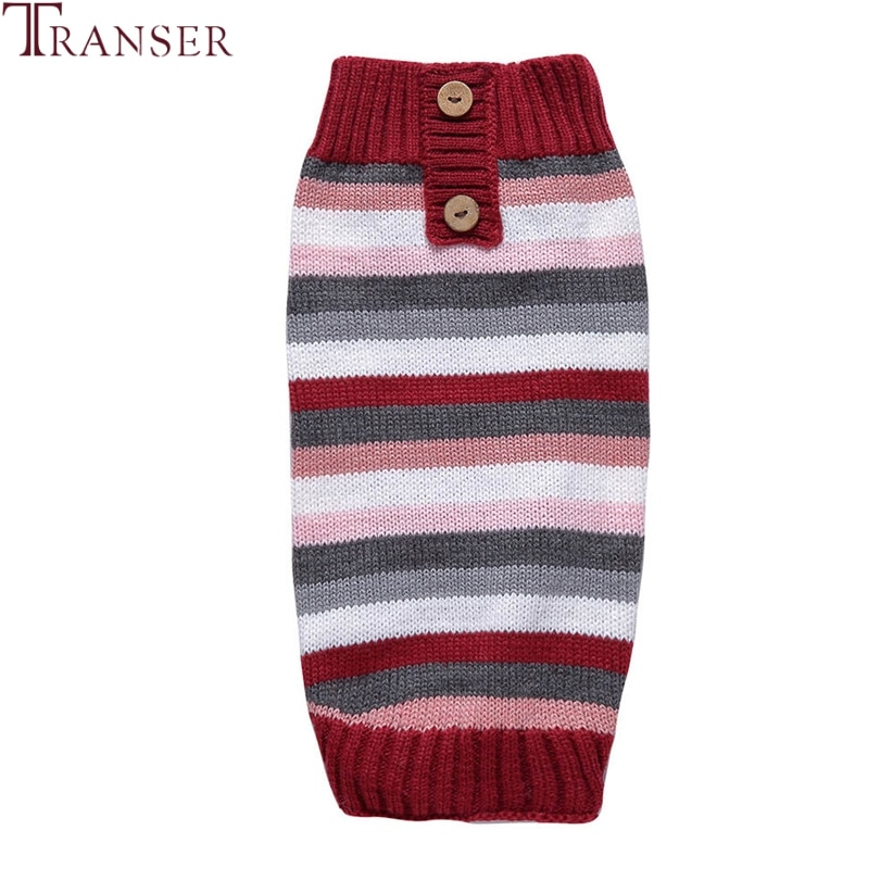 Suéter de perro a rayas de nuevo diseño, jersey con botones para mascotas para invierno frío, ropa cálida para perro pequeño osito 81009