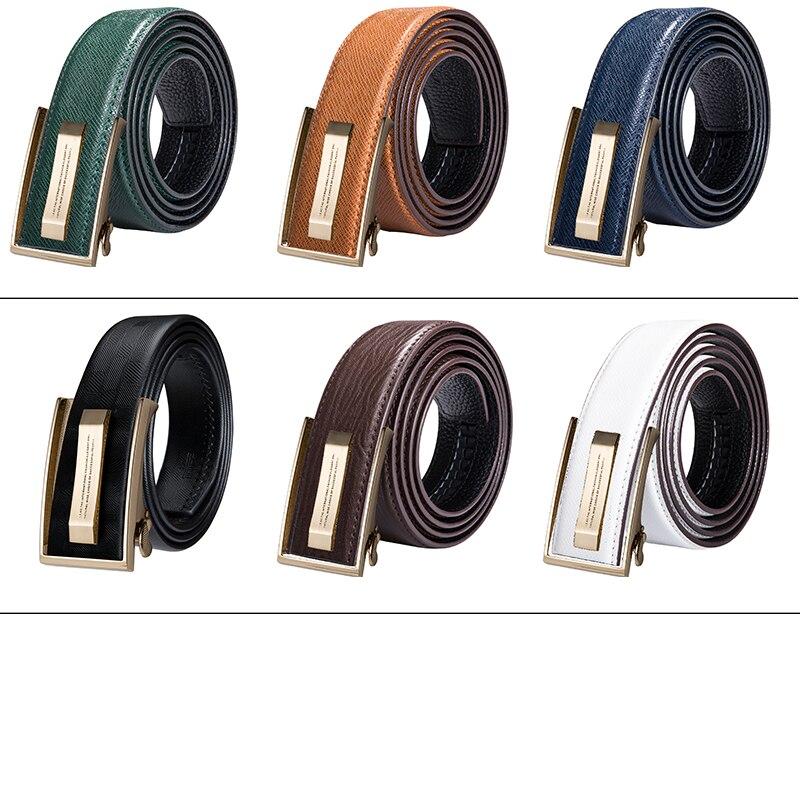 Hi-Tie Men's Orange Brown Belt for Jeans New Yellow Green Blue Leather Jeans Belts Fashion Cowboy Genuine Leather Belt Strap