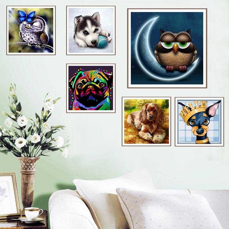 Finetime 5d pintura diamante animal broca redonda completa coruja diy mosaico daimond bordado kit ponto cruz tigre decoração da sua casa arte