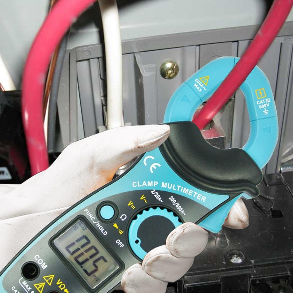 Multímetro Digital de mano con abrazadera de rango automático AC DC, medidor de resistencia de corriente de voltaje, Analizador de continuidad de diodo