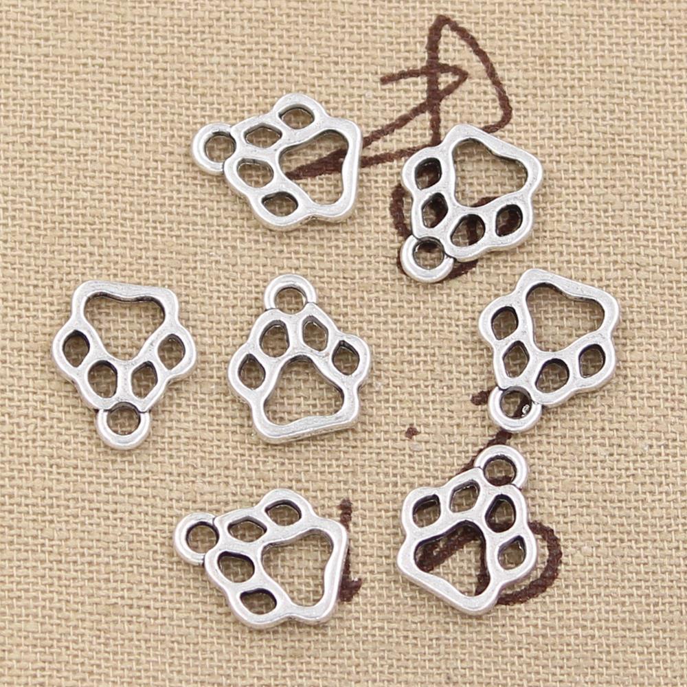50 шт. Подвески в виде собачьей лапы 13x11 мм, антикварные подвески из искусственной кожи ручной работы