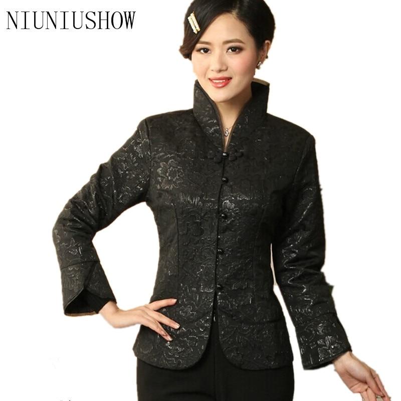 جديد وصول أسود Vintage المرأة الصينية الحرير الحرير سترة معطف طويل الأكمام الزهور حجم S متر L XL XXL XXXL