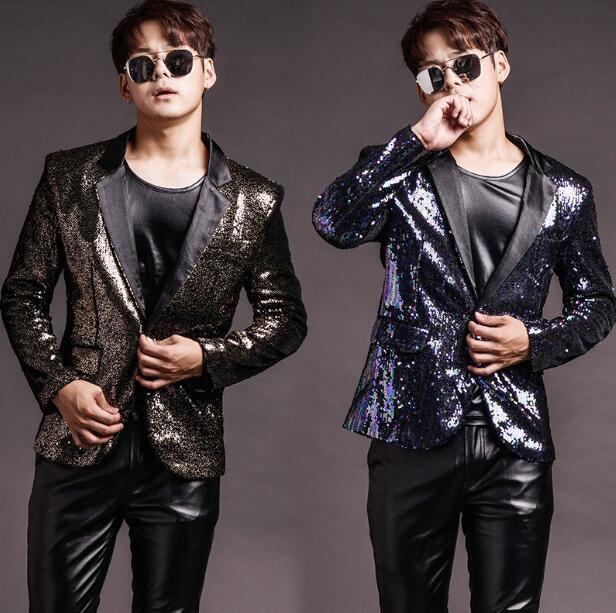 S-3XL hip hop conjunto de moda barra boate ds punk cantor masculino dj gd cor gradiente lantejoulas conjunto roupas (terno + camiseta + calças)