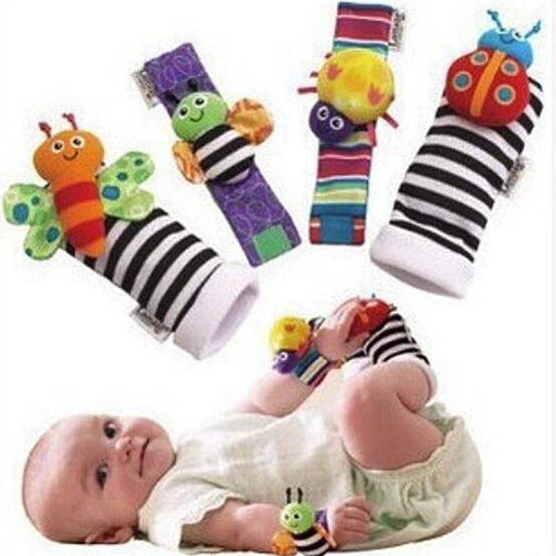 2pcs Waist and 2pcs Socks Infant Baby Kids Sock Rattle Toys Wrist Rattle and Foot Socks 0~24 Months