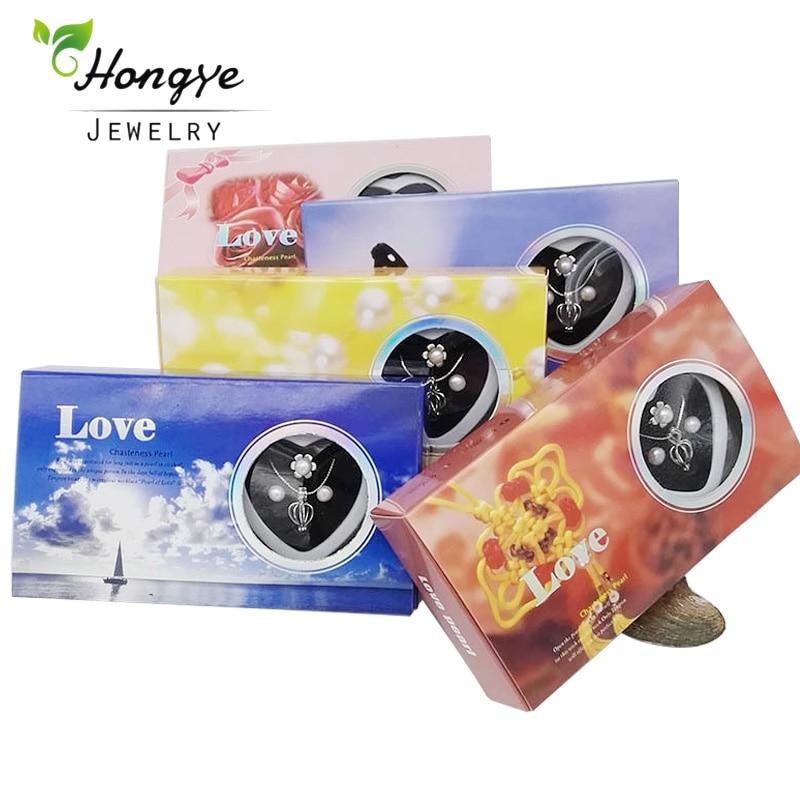 Hongye Natural deseo perla Love corazón jaula collar de acero inoxidable ostra gota colgante perla pendientes conjunto de anillos regalo de Navidad