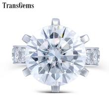 Bague en diamant Moissanite 10 carats en or blanc 14 K pour femme, bijoux de fiançailles