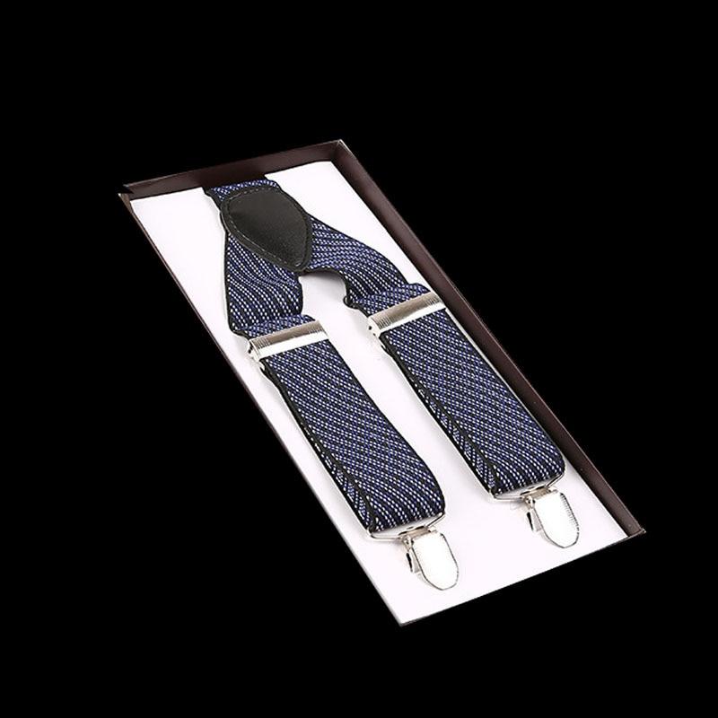 Euramerican popular 3.5*120cm 3 clip printed blue and white stripe suspenders  FY18081703