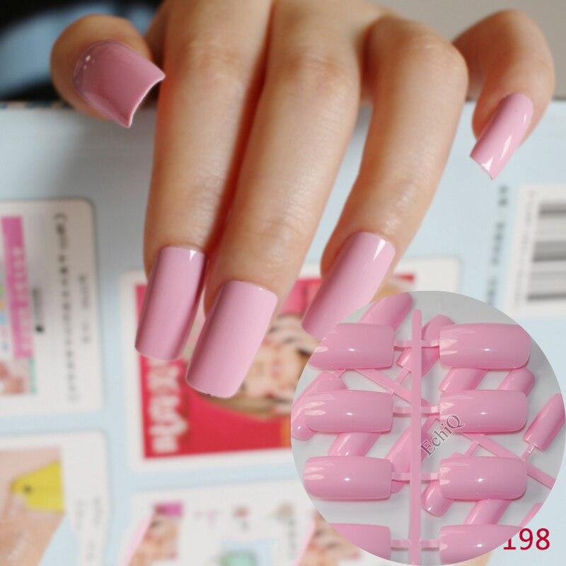 24 Uds puntas de uñas planas Ultra largas de acrílico princesa Rosa uñas postizas envoltura completa uñas de prensa fácilmente DIY 198L