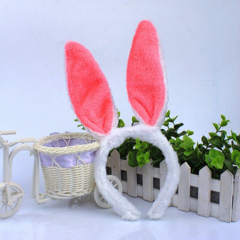 10 unidades/lote de luces Led para baile de disfraces, Orejas de conejo rosa, cinta del pelo de felpa suave, vestido de Pascua