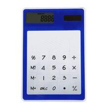 BLEL Лидер продаж ультратонкий сенсорный экран 8 цифр на солнечной энергии прозрачный калькулятор офисные поставки