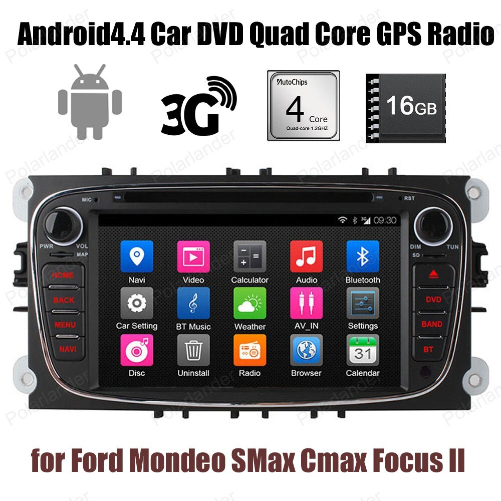 Для Ford Mondeo SMax Cmax Focus II 2 din 16G ROM автомобильный DVD 1024*600 GPS РАДИО Wifi 3G BT Android4.4 стерео