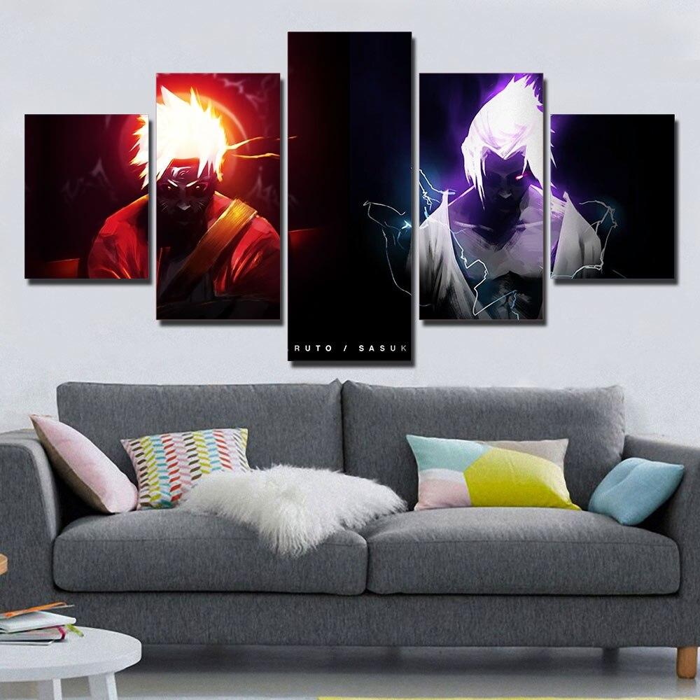 Artsailing 5 piezas Naruto VS Sasuke cuadro de pared anime poster e impresión 5 paneles lienzo arte pintura AL-1045