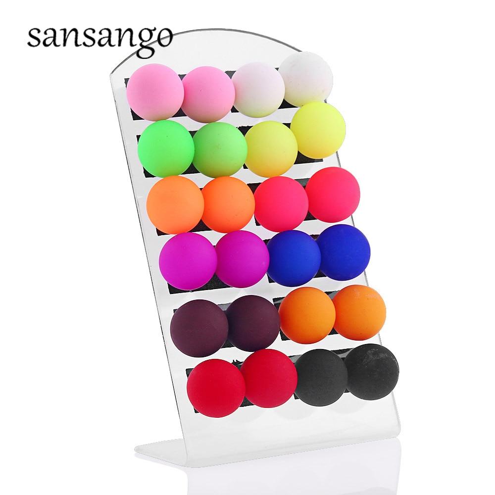12 pares/tarjeta Multicolor bola Stud colorido acrílico pendientes joyería para las orejas para las mujeres niñas regalo joyería