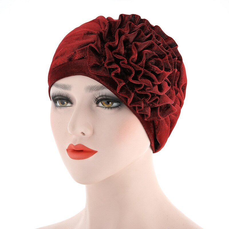 New  Muslim Womens Hijabs Scarf Cap Woman Beautiful Flower Turban Elastic Cloth Head Cap Hat Ladies Hair Accessories