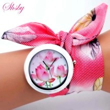shsby new unique Ladies flower cloth wristwatch fashion women dress watch high quality fabric watch