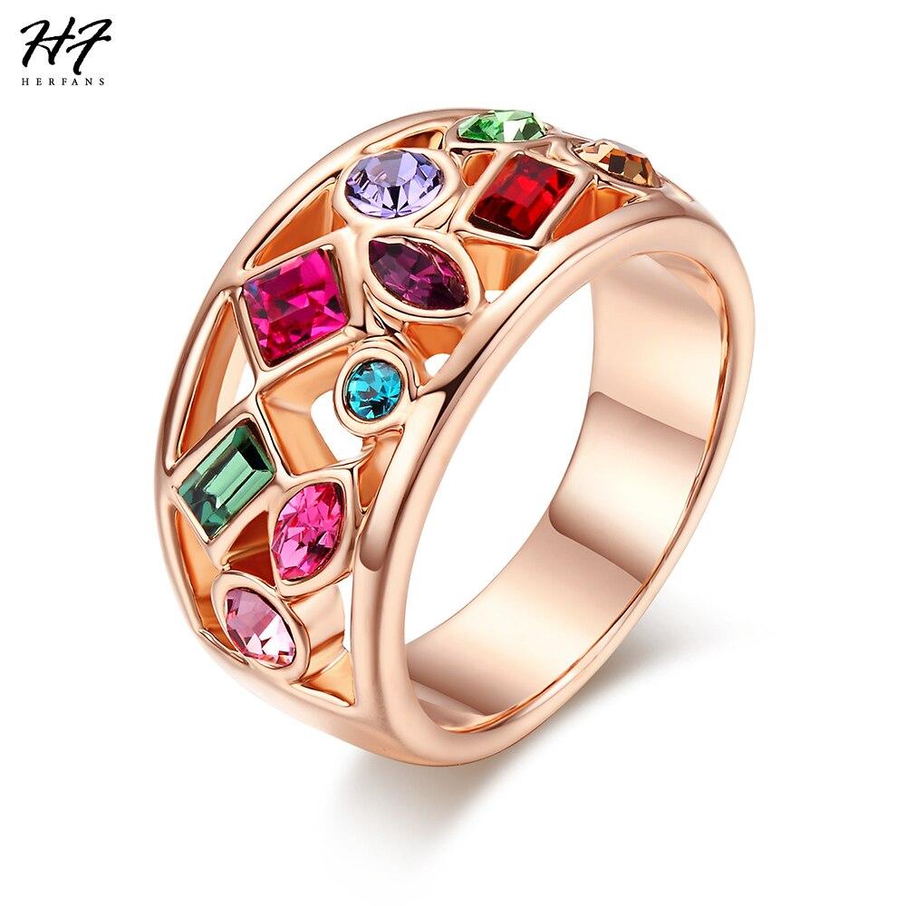 Anillos de cóctel lujosos de alta calidad, anillo de joyas de cristal austríaco de Color oro rosa para mujer, oferta de regalo R018