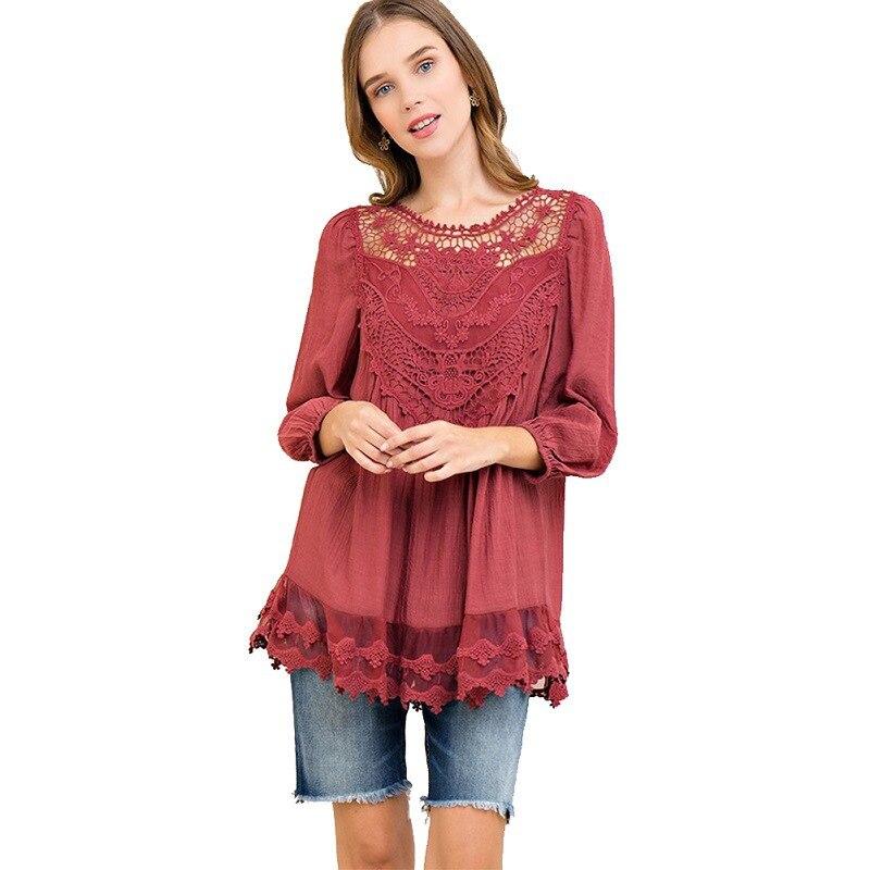 Apliques en el escote espalda hendidura de tres cuartos de manga suelta Camiseta cuello redondo camisa de encaje Vintage Femme camisetas de Color sólido