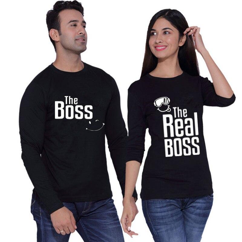 O Chefe é O Verdadeiro Patrão Casal Engraçado Tshirt Feito Sob Encomenda do Algodão O Pescoço Top Tees Plus Size Da Marca de Manga Longa Casal roupas