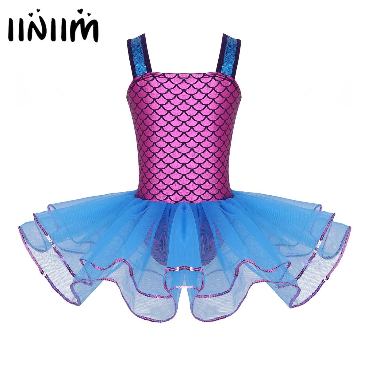 Chicas adolescentes sirena lentejuelas correas Ballet baile clase vestido bailarina trajes de baile lírico gimnasia leotardo para niños vestido