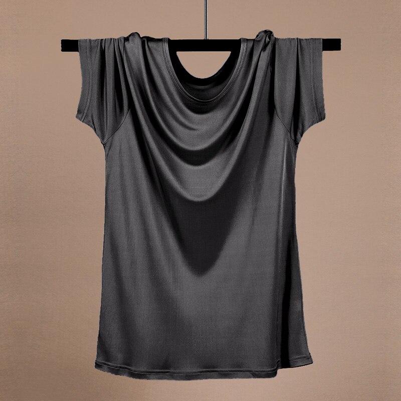 رجالي الحرير مزيج طاقم الرقبة تيشيرت بأكمام قصيرة عارضة الأساسية قمم المحملات مريحة قمصان الصيف رقيقة أعلى