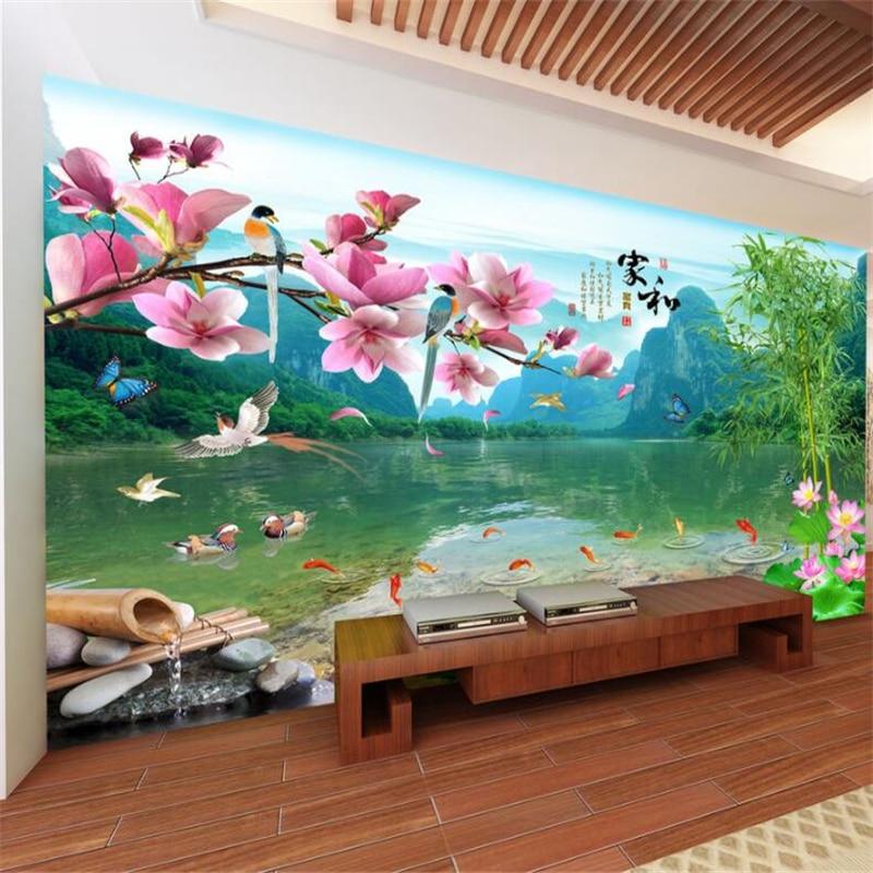 Papel de pared wellyu 3D hermoso paisaje al sur de Guilin paisaje Magnolia flor País de las Maravillas TV Fondo pared behang