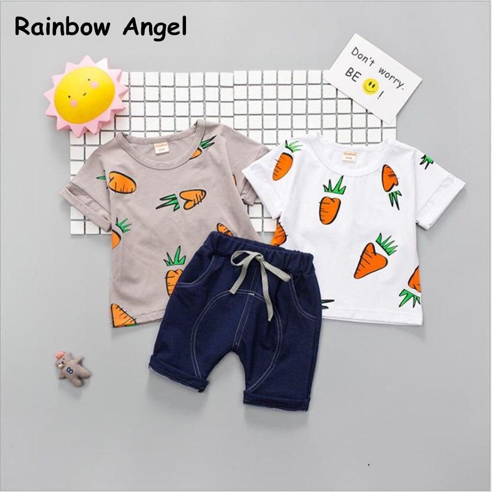 Cartoon Baby Boy Clothes Summer 2019 Newborn Set Suits Short Plaid Infant Kids