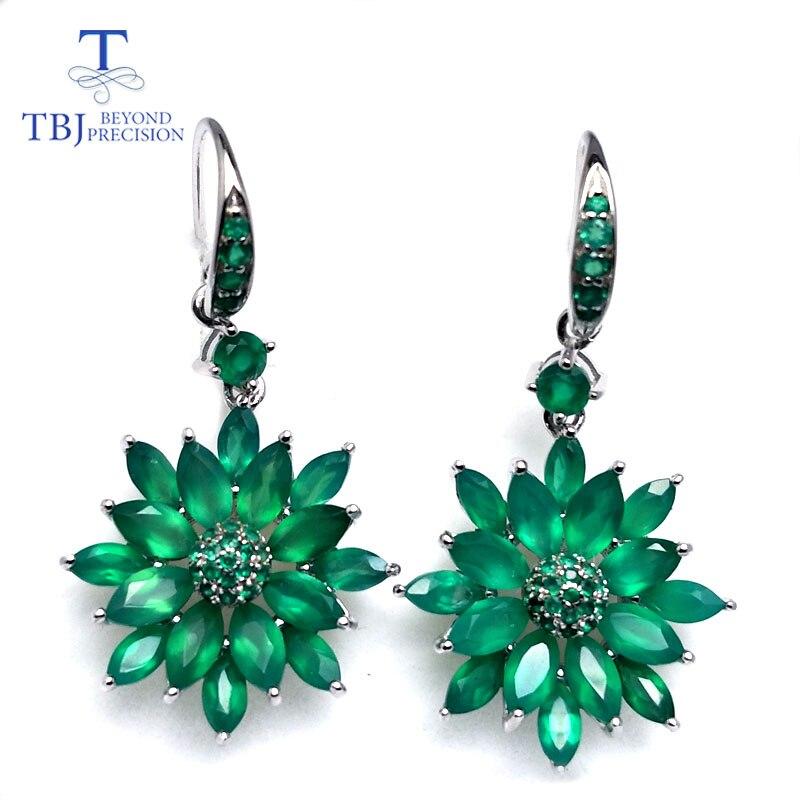 TBJ ، أقراط العقيق الأخضر الطبيعي مزيج الأحجار الكريمة زهرة تصميم 925 فضة فاخرة غرامة مجوهرات الزفاف هدية للمرأة