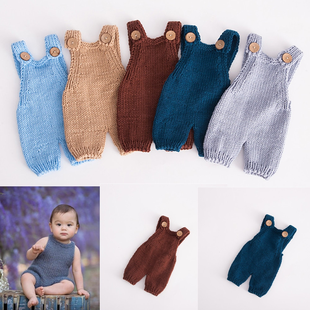 Newborn Photography Props Baby Photography Clothing Suspenders Manual Knitted Romper Baby Photo Prop Shooting Babies Accessories