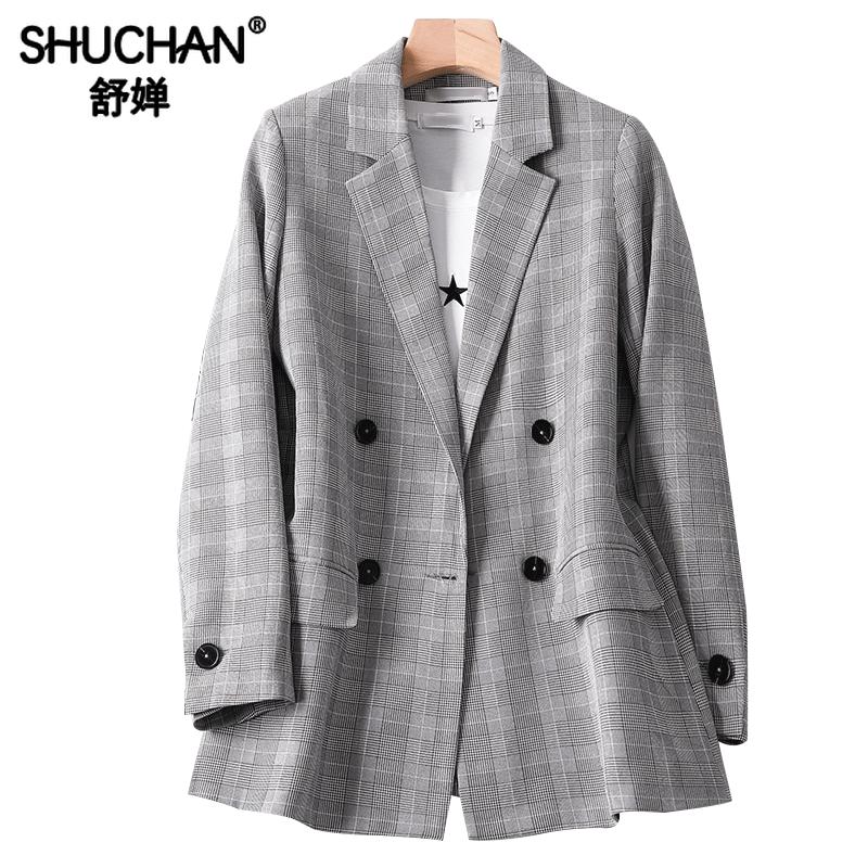 Shuchan Womens Jacket Plaid Double Breasted Blazer Feminino Notched England Style Women Autumn VS19B255