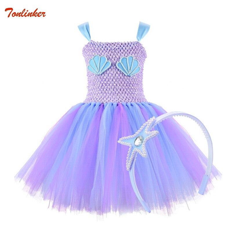 Disfraz de sirena para niñas con diadema, vestido tutú de princesa azul para niñas, concha de mar de tul con elegante vestido de fiesta, disfraz de Halloween para niños