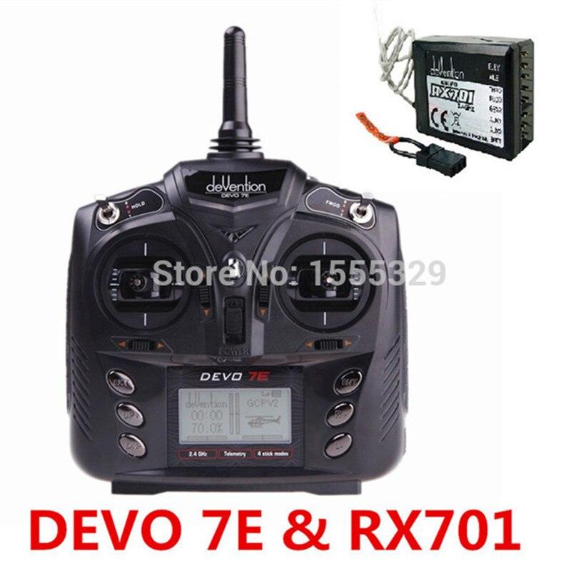 Transmisor de Radio Control Walkera DEVO 7E 2,4G 7CH DSSS + receptor RX601 o rx701para helicópteros RC, aviones, rotores multiejes