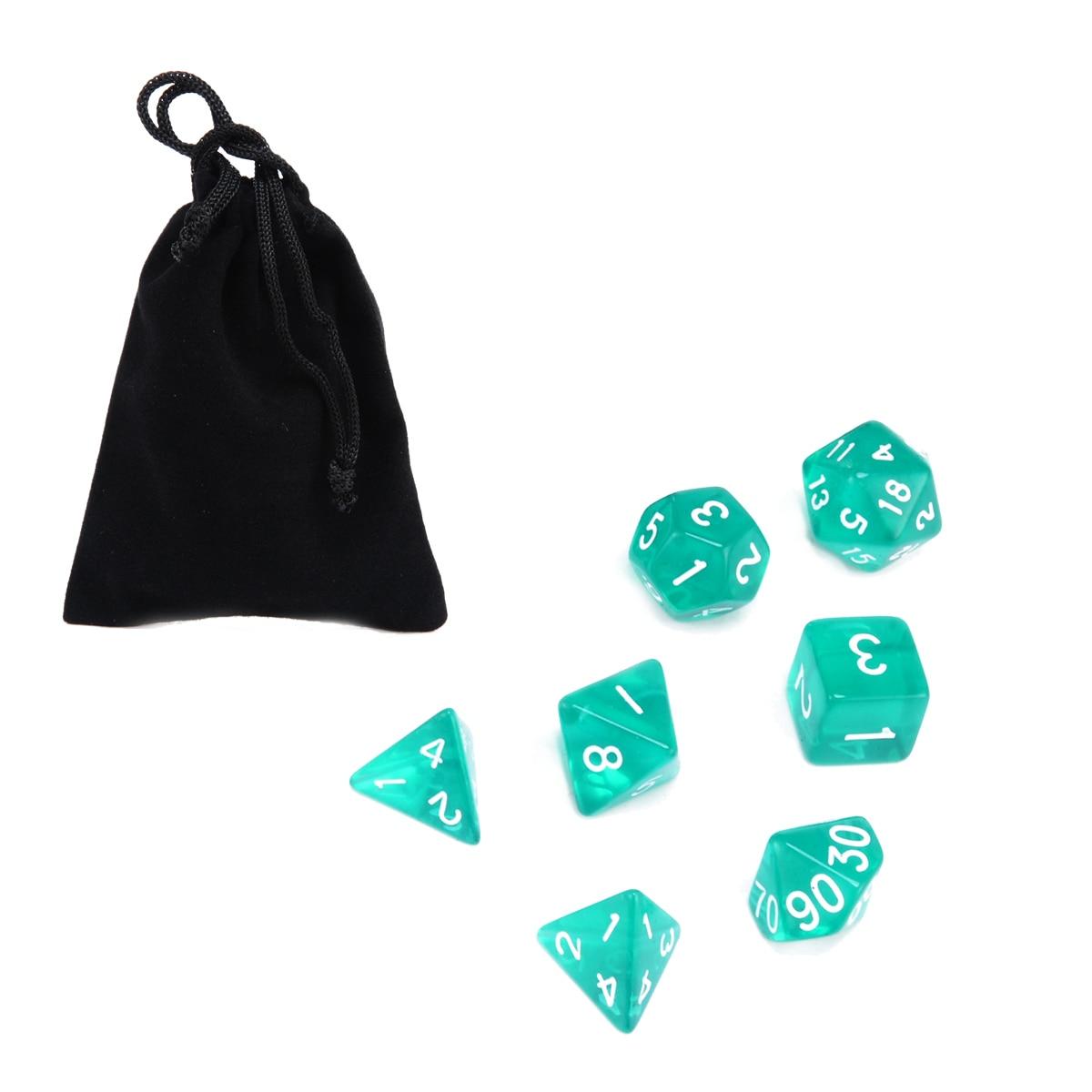 Venta al por mayor 7 Uds dados translúcidos verdes con bolsa Conjunto de dados poliédricos para dragones y mazmorras RPG D4-D20 barra juego de dados