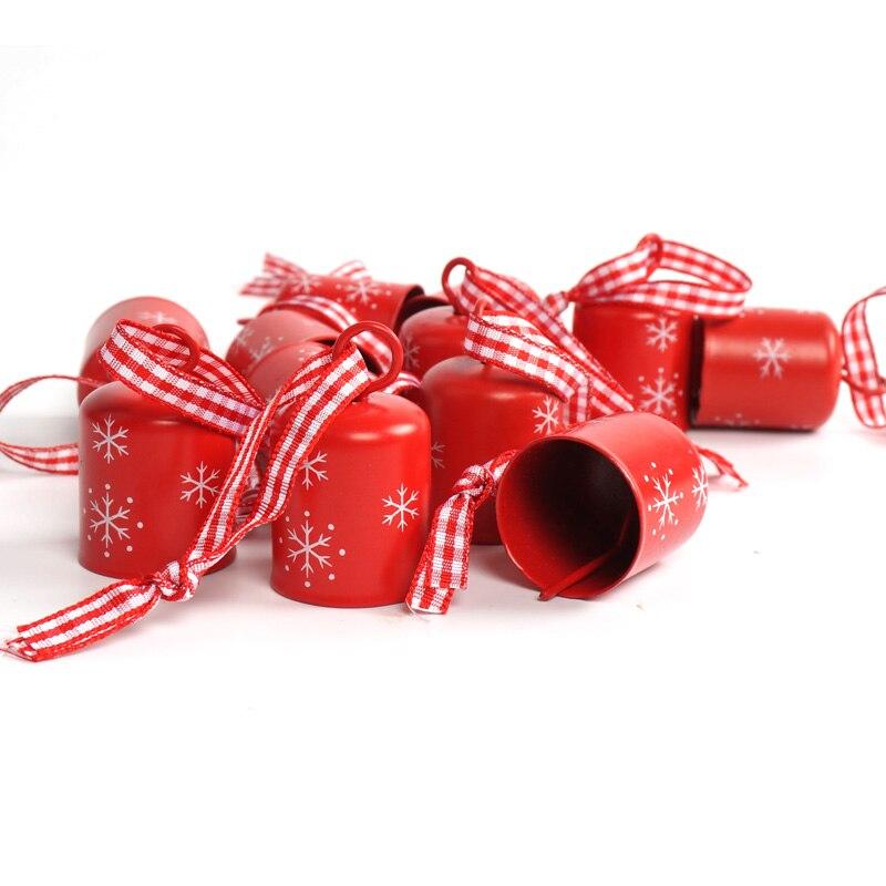 Рождественский колокольчик 12 шт. Красный Белый цилиндрический 25 мм Рождественская Снежинка маленький колокольчик подвесное украшение для ...