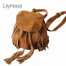 LilyHood femmes petit cuir véritable daim féminin sac à dos bohème Boho Chic Ibiza Mini seau frange marron sacs à dos
