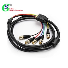 GuSou VGA DVI vers RGBHV composant 5x BNC adaptateur vidéo de rupture câble DVI-I 24 + 5