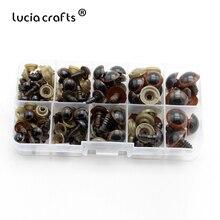 Lucia-artisanat en plastique 1 boîte (42 paires)   8-16mm, yeux de sécurité en plastique marron pour bricolage, poupée en peluche, artisanat de marionnettes K1001