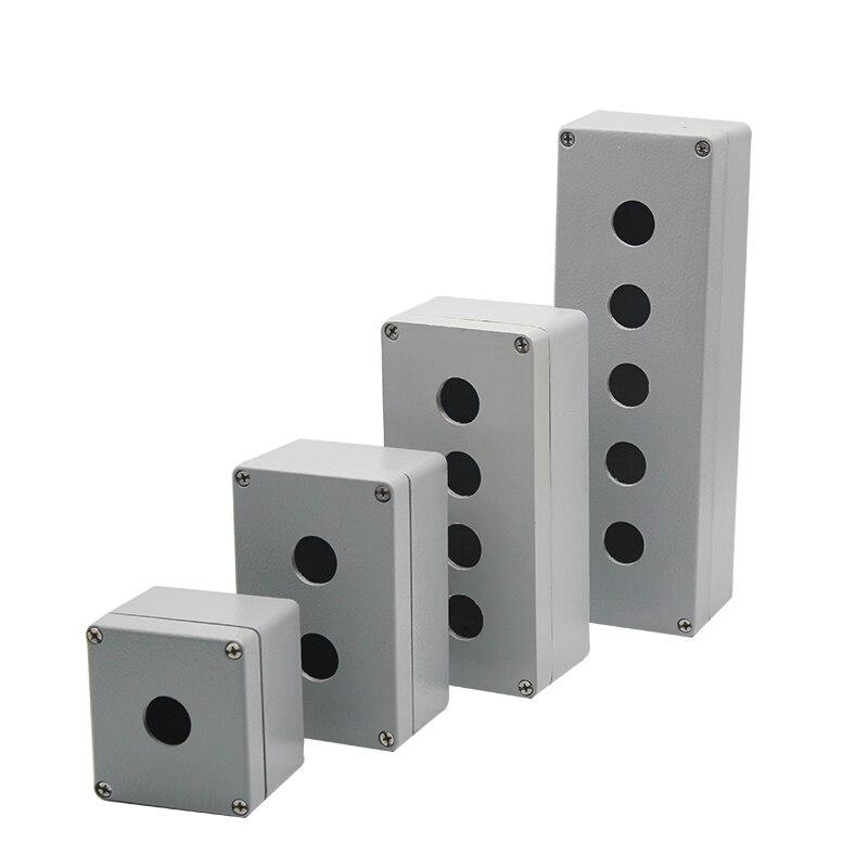 Caja de botón de aluminio fundido de Metal caja de control a prueba de agua caja de operación de parada de emergencia 123456 agujero 22MM caja vacía